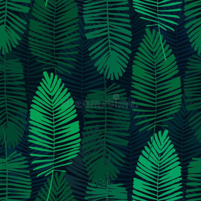Foglie tropicali, modello della giungla Modello senza cuciture, dettagliato, botanico Fondo di vettore illustrazione vettoriale