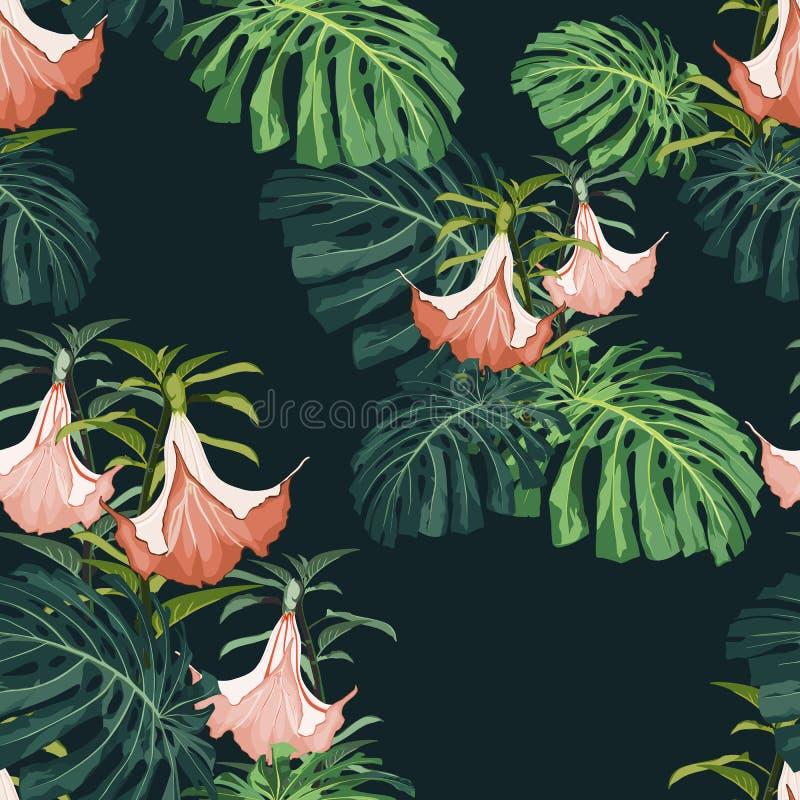Foglie tropicali scure e luminose con le piante della giungla Modello tropicale di vettore senza cuciture con le foglie verdi di  royalty illustrazione gratis