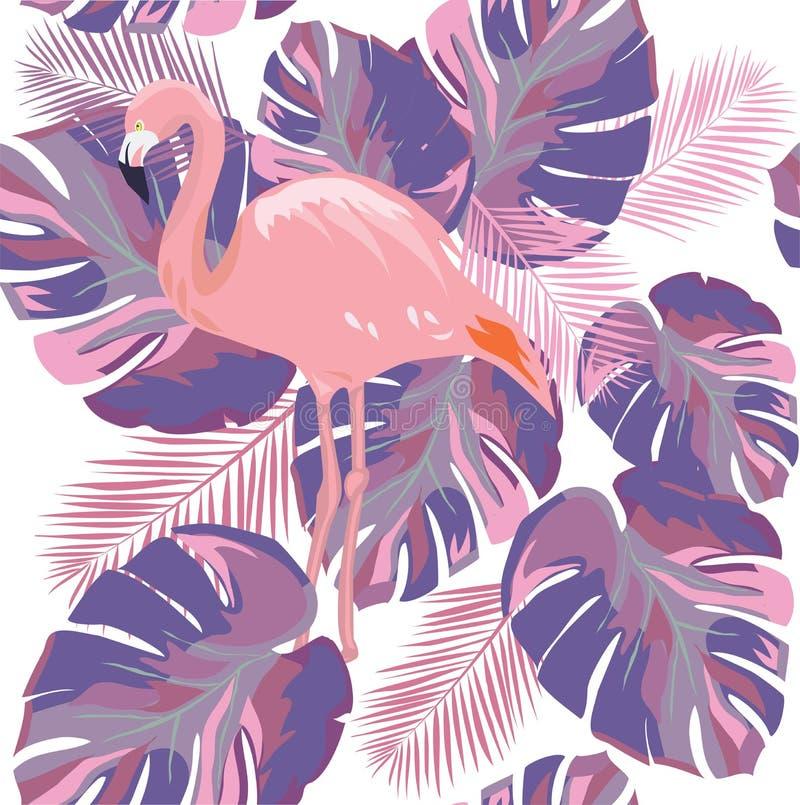 Foglie tropicali ultra Violet Background del fenicottero di vettore illustrazione di stock