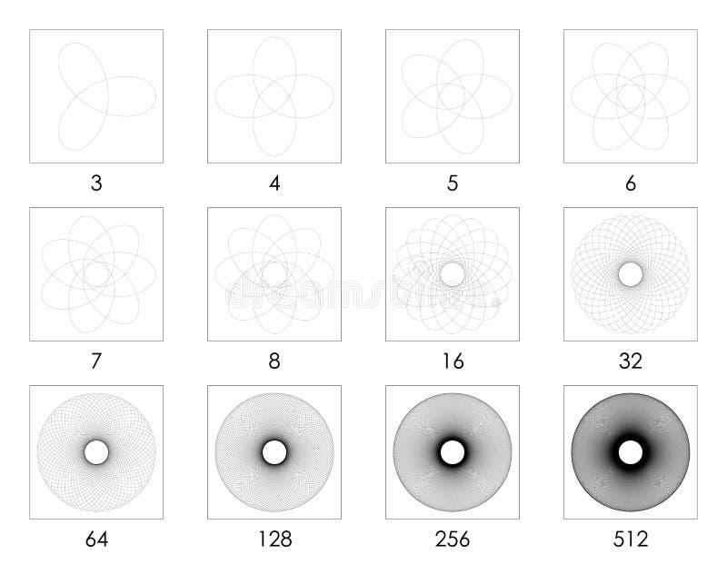 foglie Unico segnate dei modelli 3 - 512 della rabescatura immagini stock