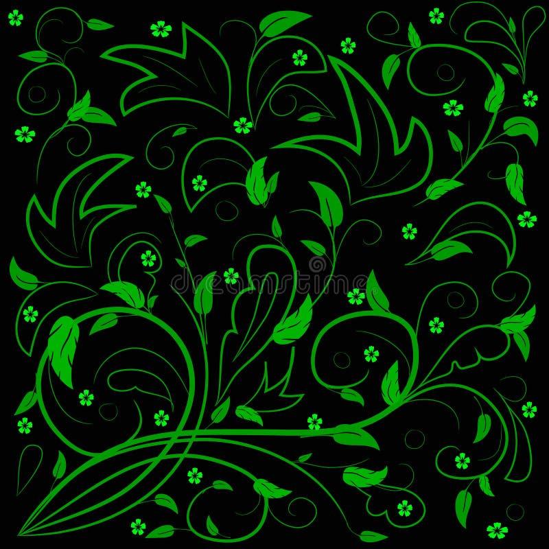 Foglie verdi con i turbinii astratti immagine stock