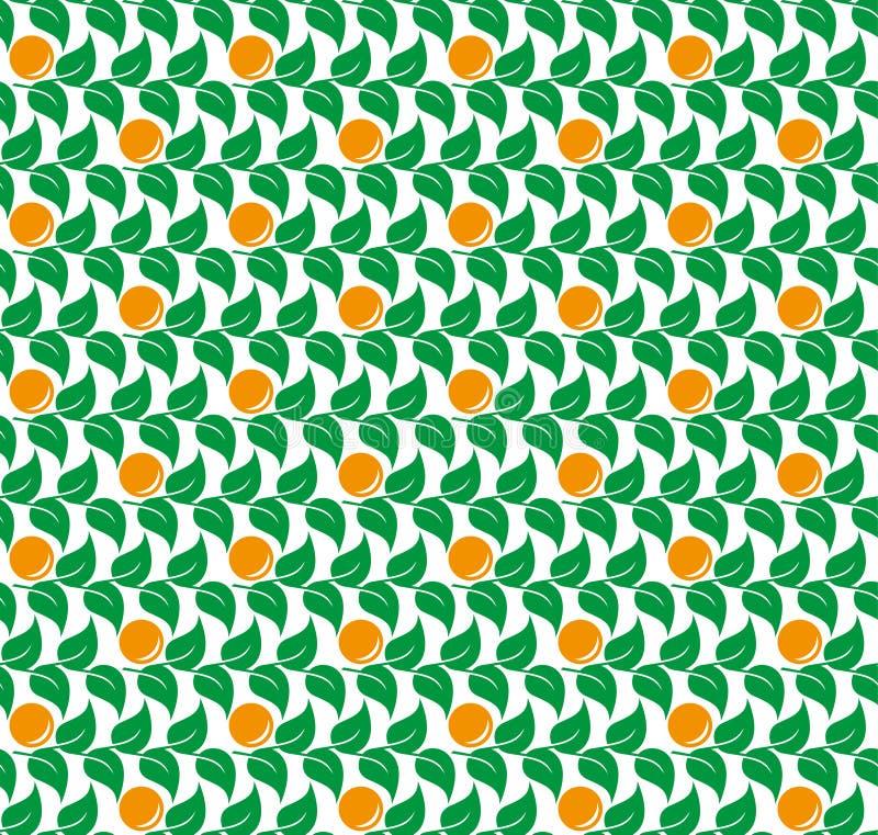 Foglie verdi degli alberi con il modello senza cuciture dei mandarini arancio Fondo dell'illustrazione e di vettore illustrazione vettoriale