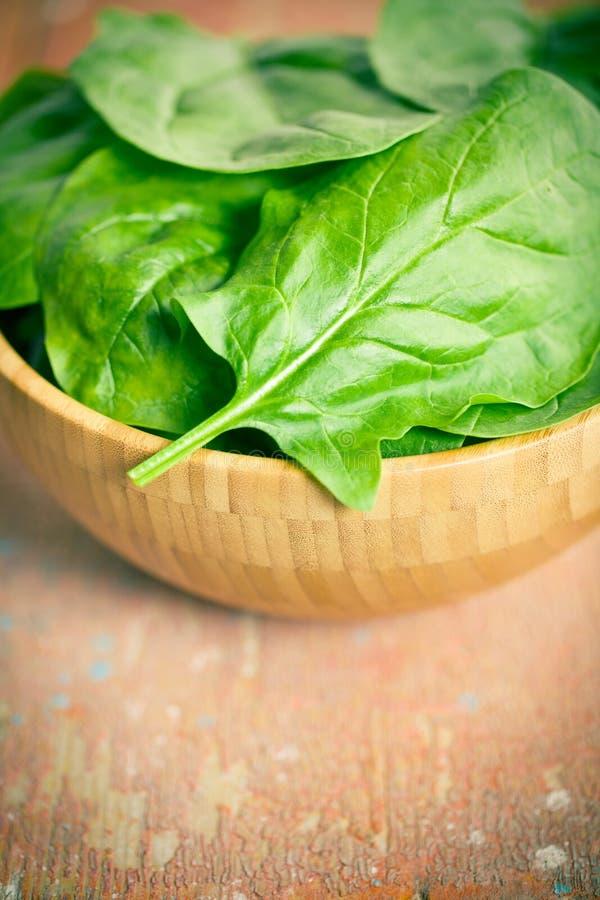Foglie verdi degli spinaci in ciotola immagini stock