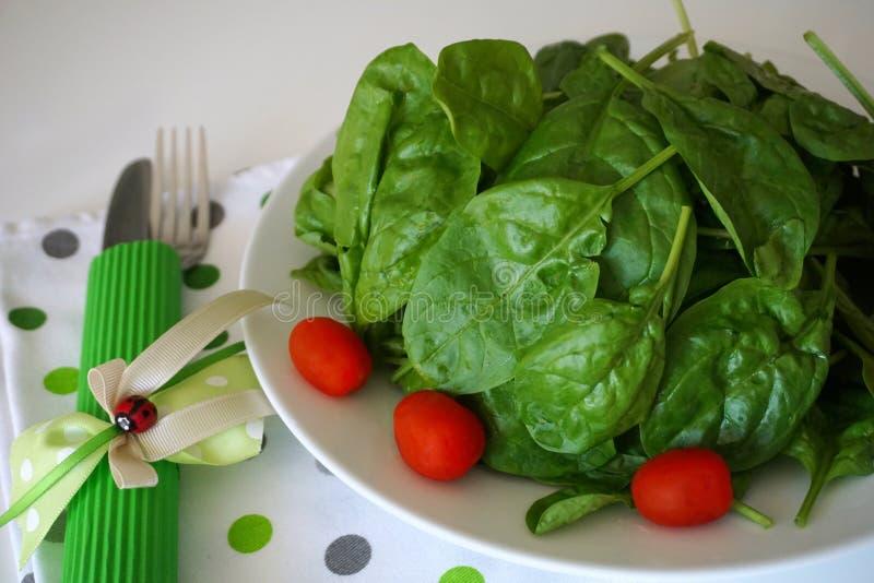 Foglie verdi degli spinaci del bambino decorate con i mini pomodori, su un piatto servito per la cottura o il cibo vicino sulla v immagini stock libere da diritti