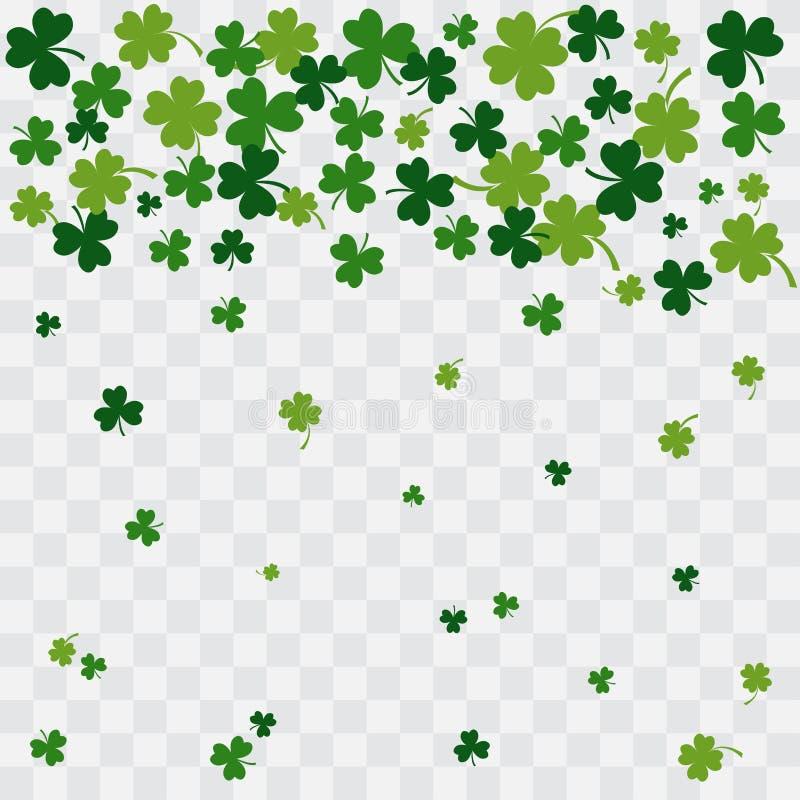 Foglie verdi di caduta del trifoglio su fondo trasparente Vettore royalty illustrazione gratis