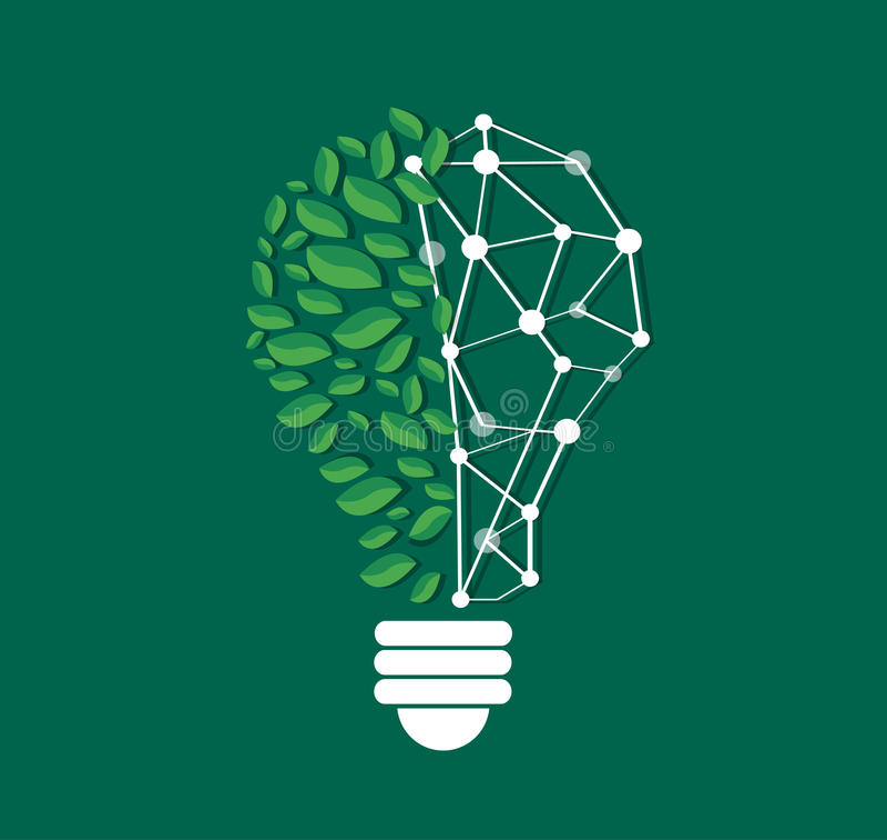 Foglie verdi nella forma della lampadina e nella linea vettore, concetto di eco della natura, Giornata mondiale dell'ambiente di  illustrazione vettoriale