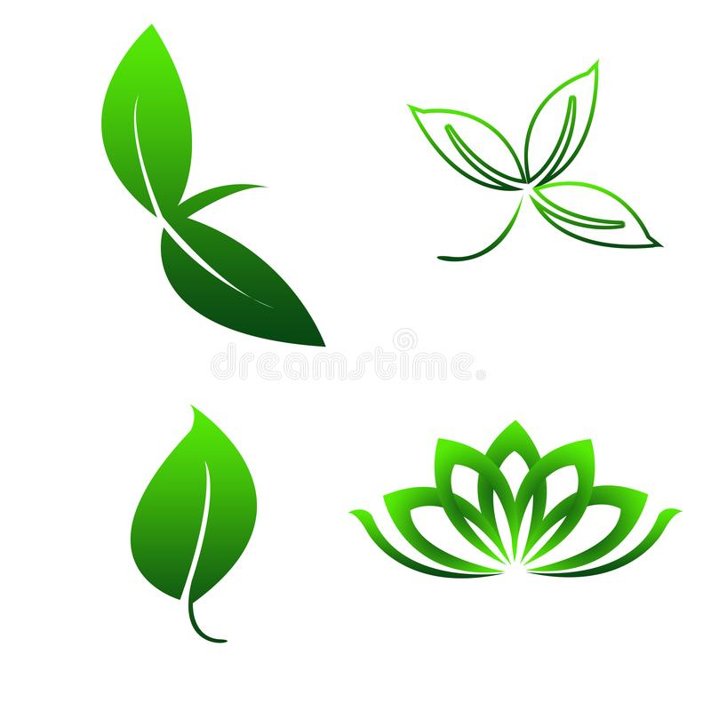 Foglie verdi semplici di logo del modello illustrazione di stock