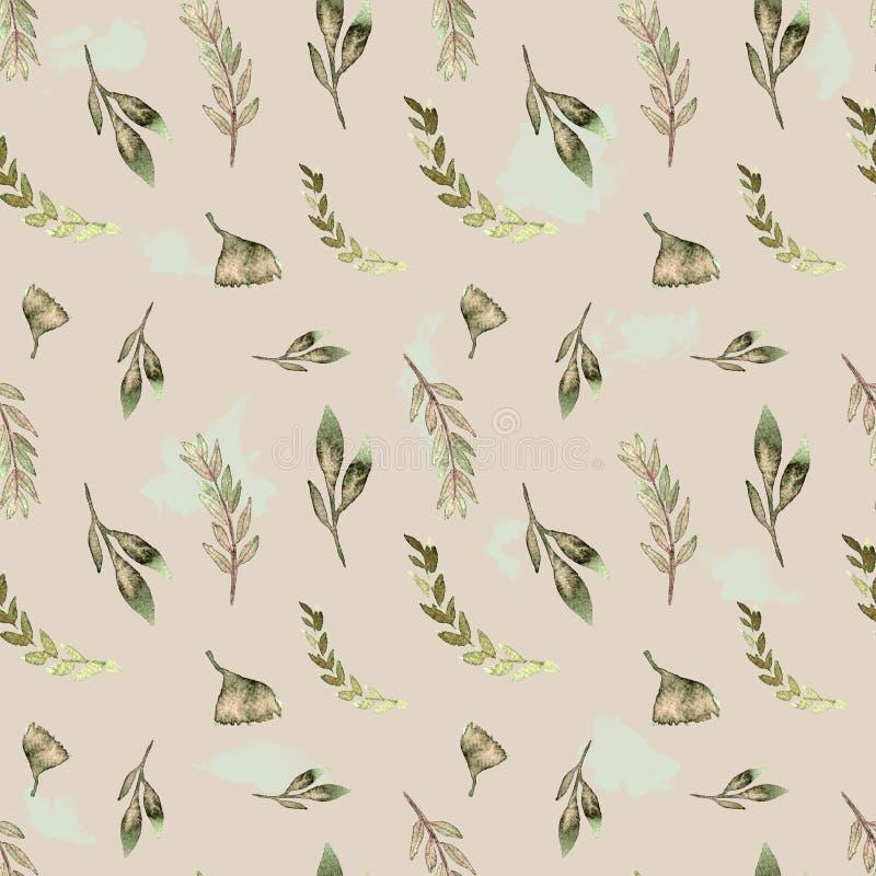 Foglie verdi senza cuciture di progettazione floreale dell'acquerello del modello illustrazione di stock