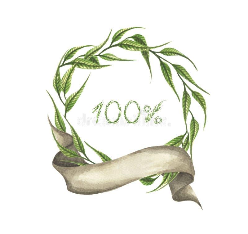 100% in foglie verdi si avvolge con il nastro Illustrazione dell'acquerello royalty illustrazione gratis