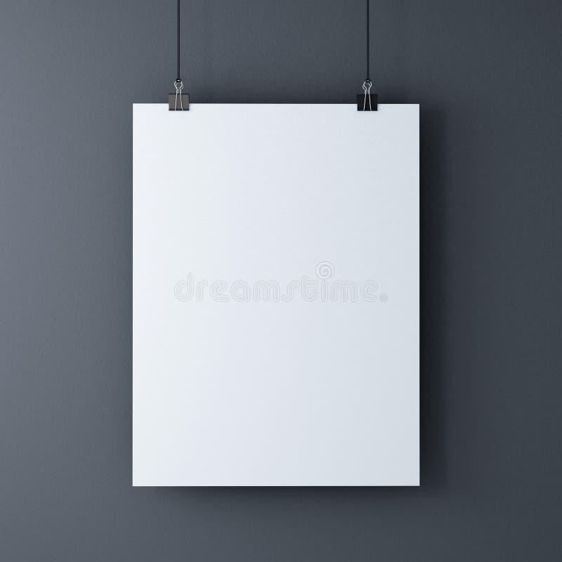 Foglio bianco bianco sulle graffette nere illustrazione di - Foglio laminato bianco ...