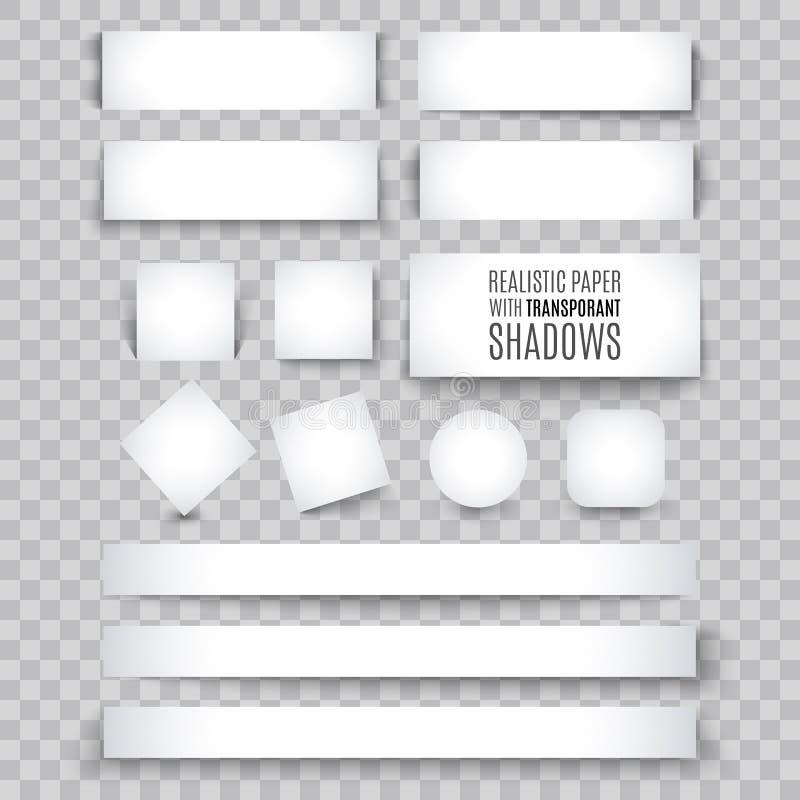 Foglio bianco di carta con il ricciolo della pagina e l'ombra, elemento di progettazione illustrazione di stock