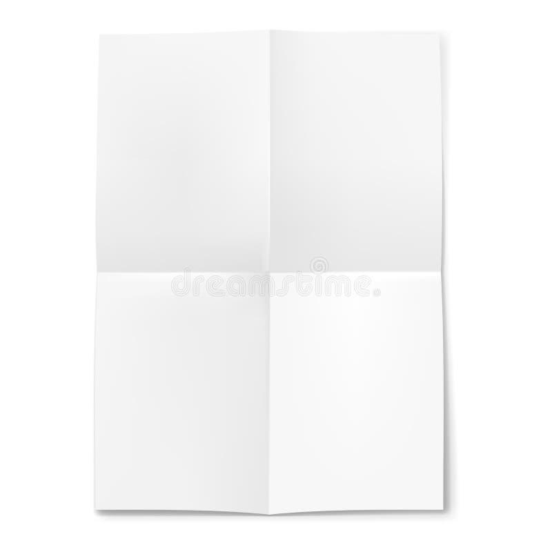 Foglio bianco di carta piegato in quattro illustrazione - Foglio laminato bianco ...