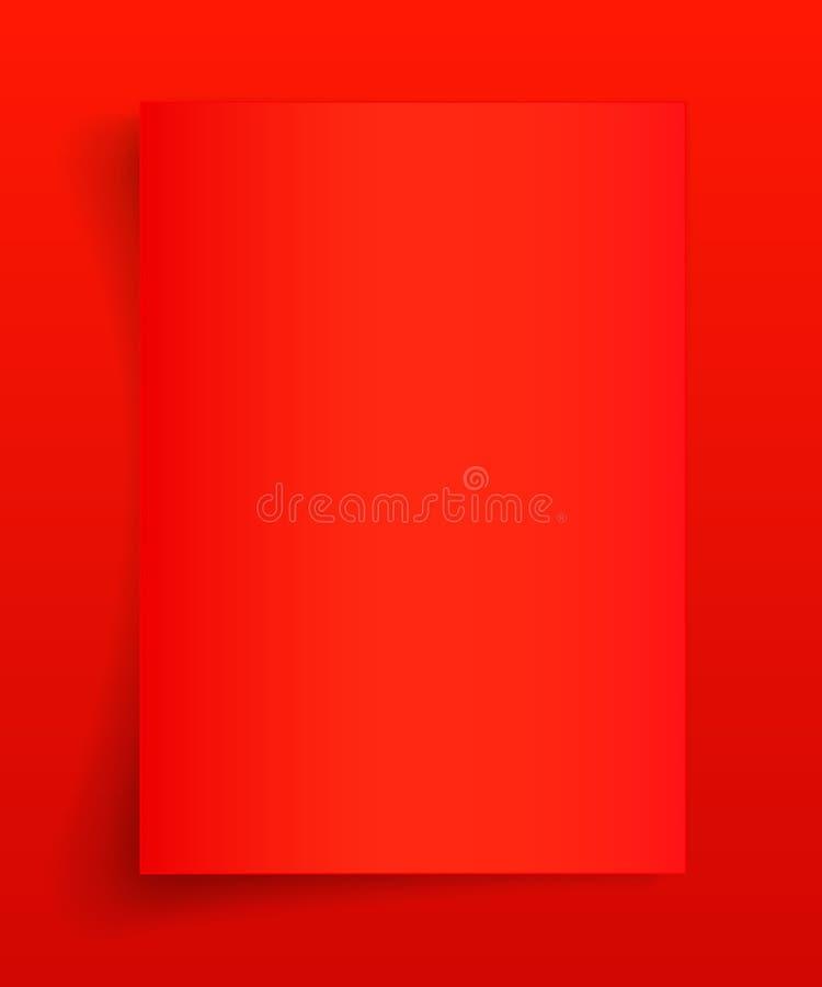 Foglio in bianco A4 di carta rossa con ombra, modello per la vostra progettazione insieme Illustrazione di vettore royalty illustrazione gratis