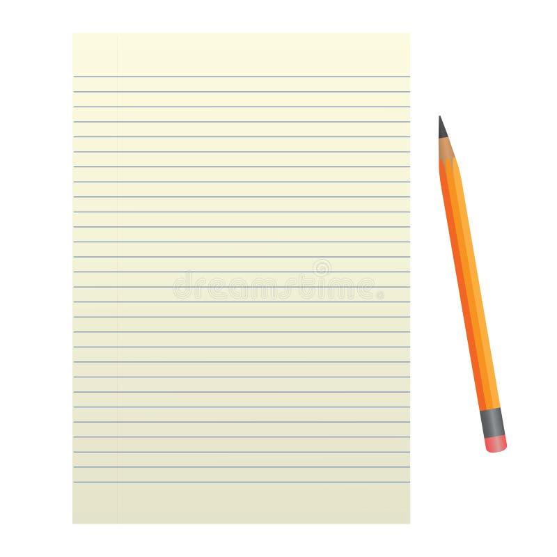 Foglio di carta con una matita su un fondo bianco immagine stock libera da diritti