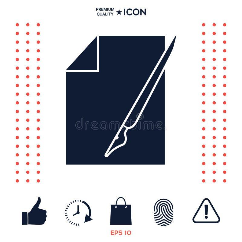 Download Foglio Di Carta L'icona Della Penna Stilografica E Illustrazione Vettoriale - Illustrazione di foglio, lista: 117976773
