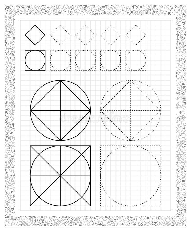 Foglio di lavoro in bianco e nero su una carta quadrata con gli esercizi per i piccoli bambini illustrazione di stock