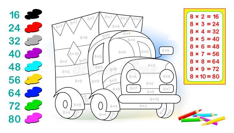 Foglio di lavoro con gli esercizi per i bambini con moltiplicazione da otto Debba risolvere gli esempi e dipingere il camion nei  illustrazione vettoriale