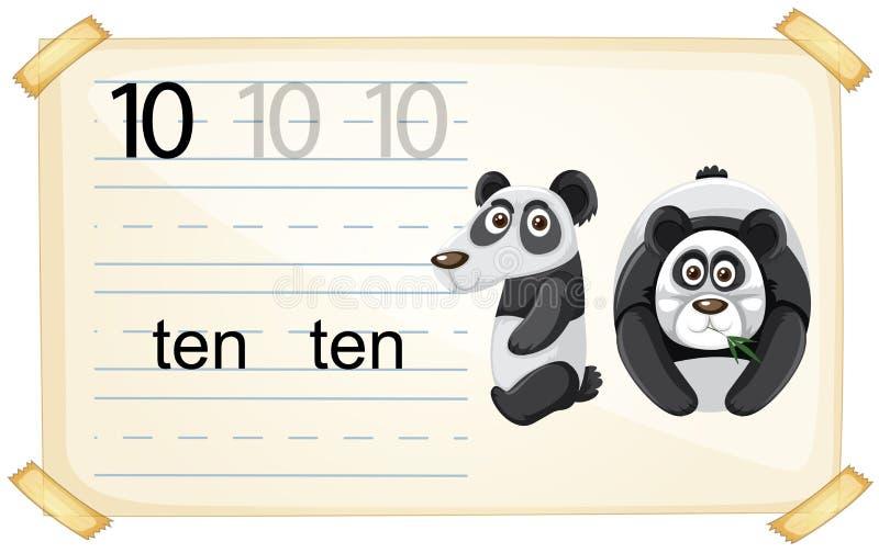 Foglio di lavoro del panda di numero dieci royalty illustrazione gratis