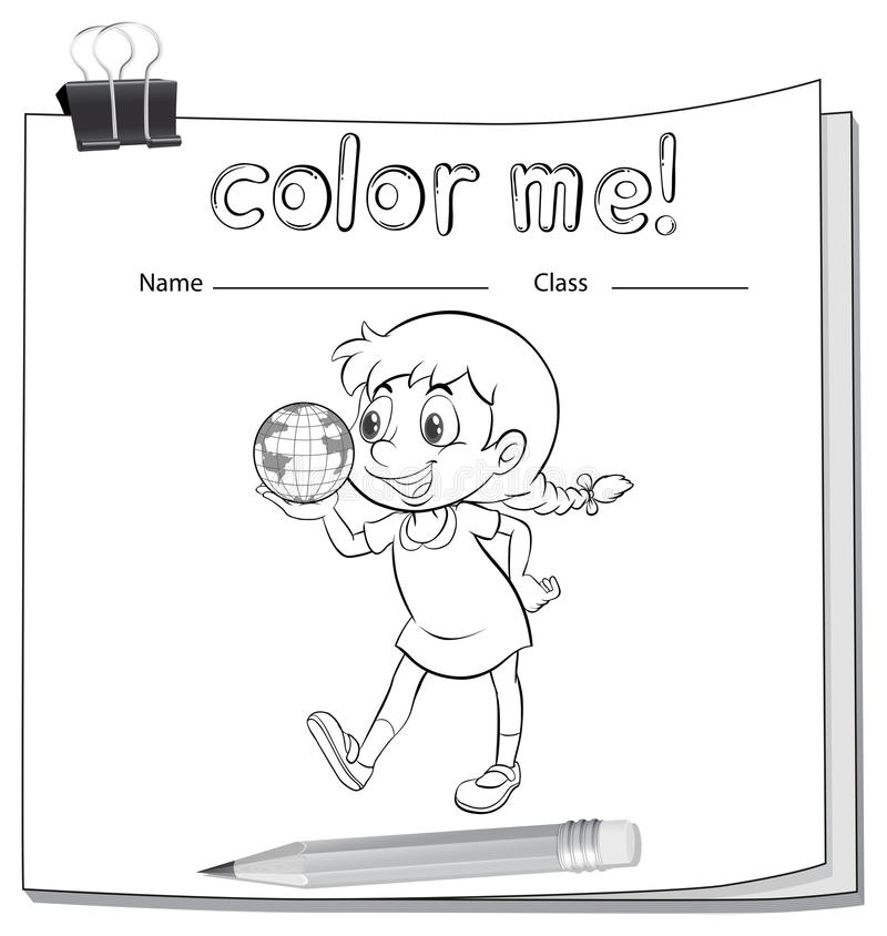 Foglio di lavoro di coloritura con la ragazza illustrazione di stock