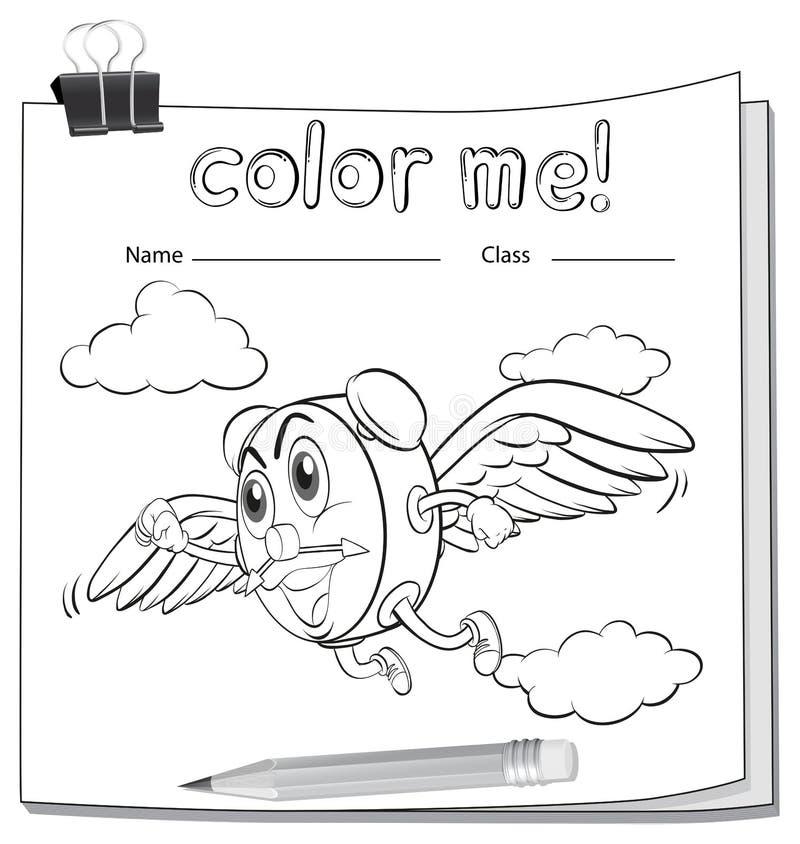 Foglio di lavoro di coloritura con un orologio e una matita royalty illustrazione gratis