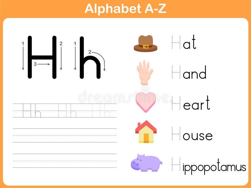 Foglio di lavoro di rintracciamento di alfabeto illustrazione di stock