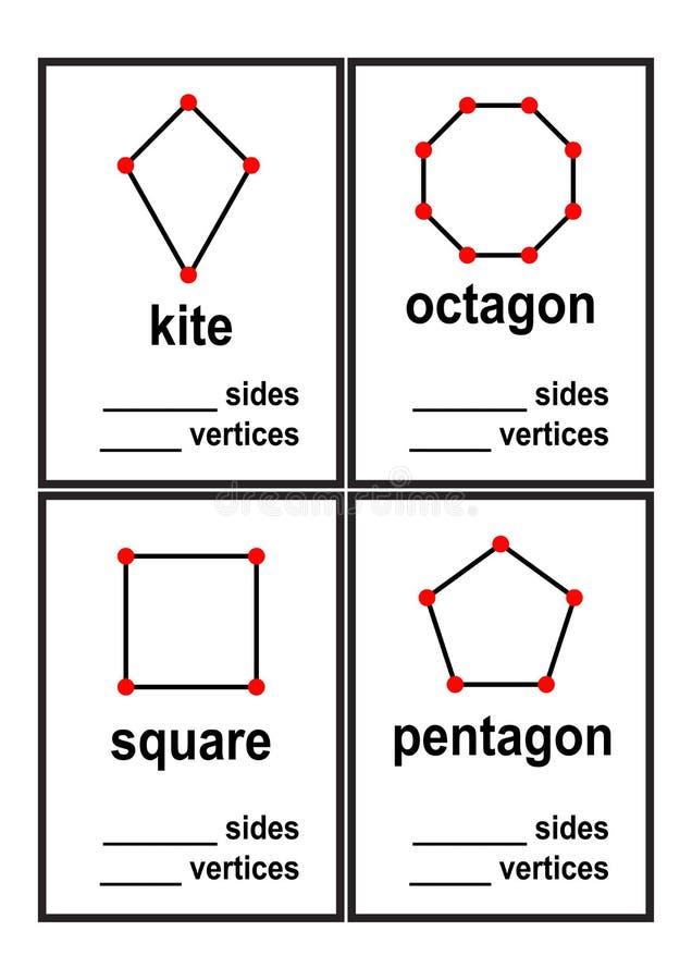 Foglio di lavoro di forme dei lati e di vertici di conteggio per il vettore prescolare dei bambini illustrazione vettoriale