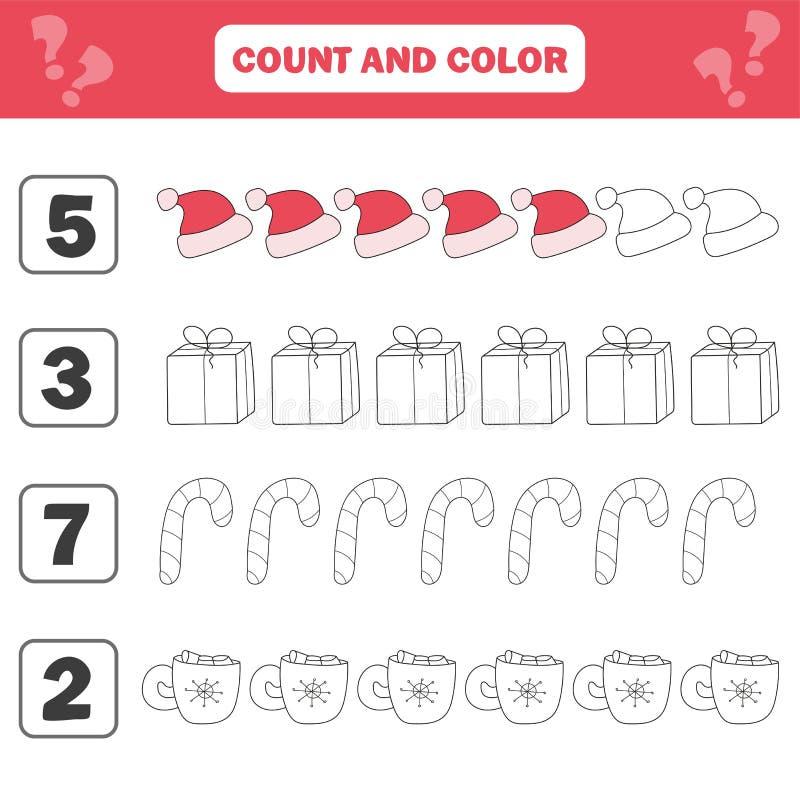 Foglio di lavoro di matematica per i bambini Conteggio ed attività educativa dei bambini di colore illustrazione vettoriale