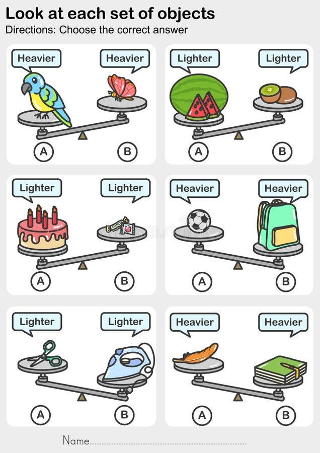 Foglio di lavoro di misura del peso - sguardo ad ogni insieme degli oggetti - Scelga la risposta corretta illustrazione di stock