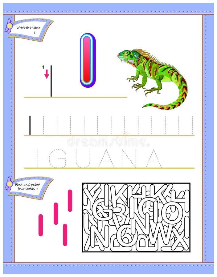 Foglio di lavoro per i bambini con la lettera I per l'alfabeto inglese di studio Gioco di puzzle di logica Abilità di sviluppo de illustrazione vettoriale
