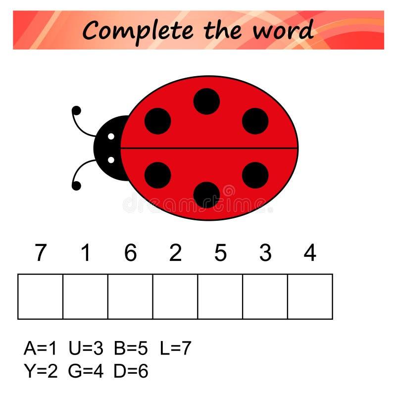 Foglio di lavoro per i bambini Gioco educativo di puzzle di parole per i bambini Disponga le lettere nel giusto ordine illustrazione vettoriale