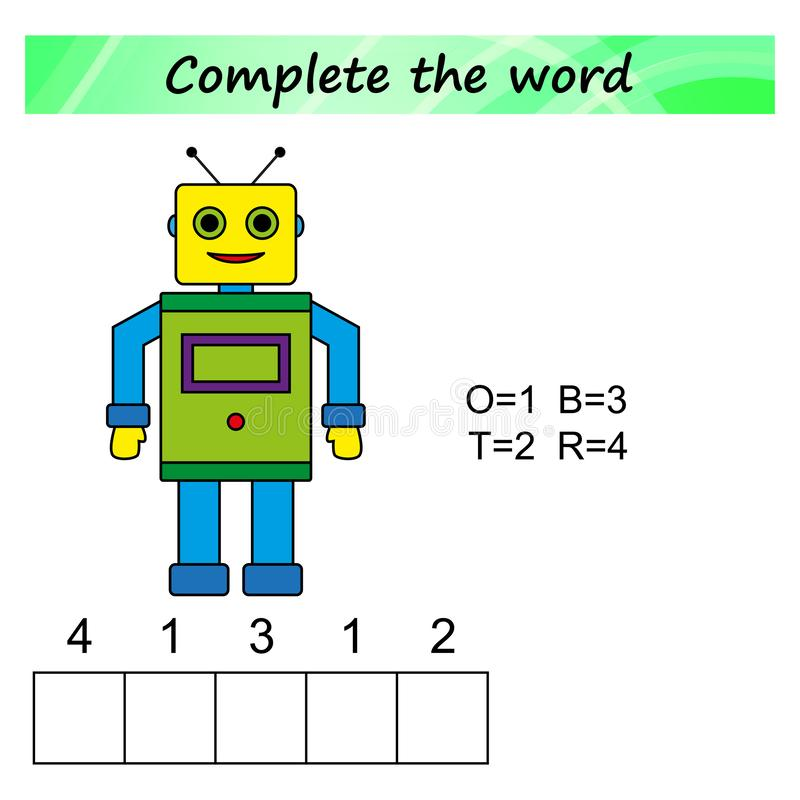 Foglio di lavoro per i bambini Gioco educativo di puzzle di parole per i bambini Disponga le lettere nel giusto ordine illustrazione di stock