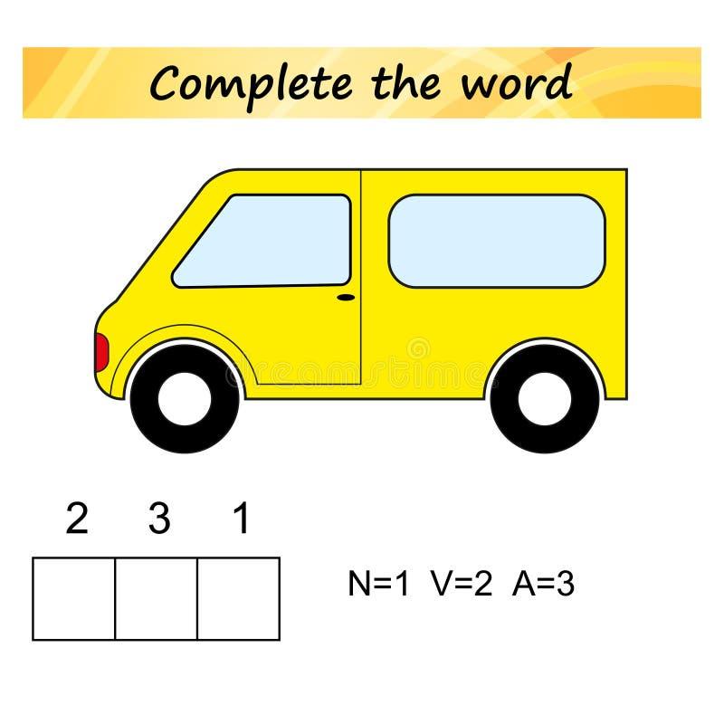 Foglio di lavoro per i bambini Gioco educativo di puzzle di parole per i bambini Disponga le lettere nel giusto ordine royalty illustrazione gratis