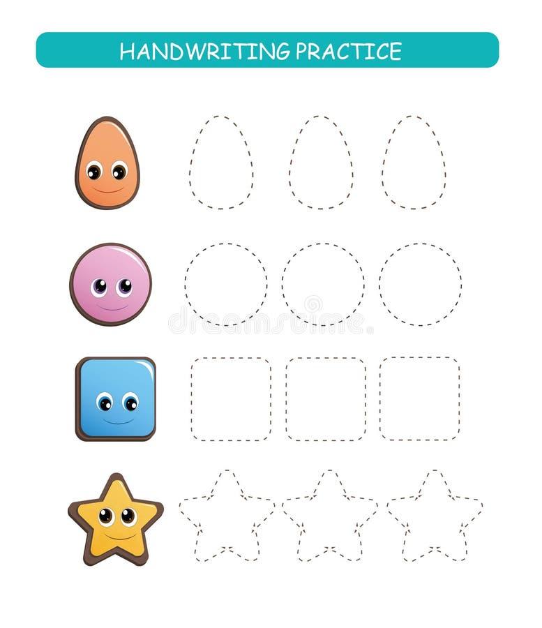 Foglio di lavoro di pratica della scrittura Gioco educativo dei bambini Addestramento di scrittura figure illustrazione vettoriale