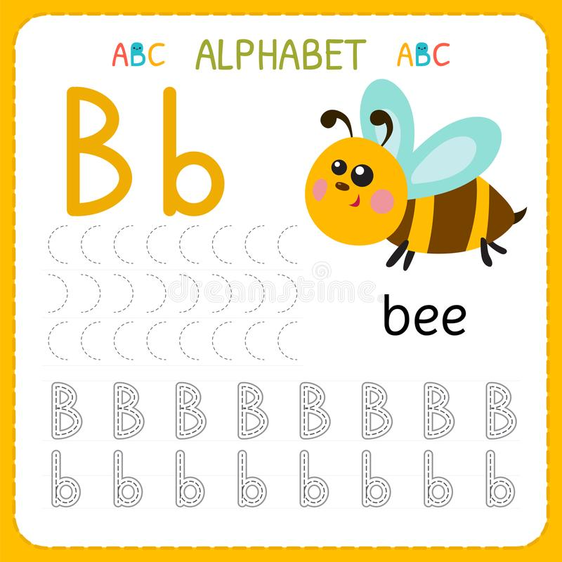 Foglio di lavoro di rintracciamento di alfabeto per la scuola materna e l'asilo Lettera B di pratica di scrittura Esercizi per i  illustrazione vettoriale
