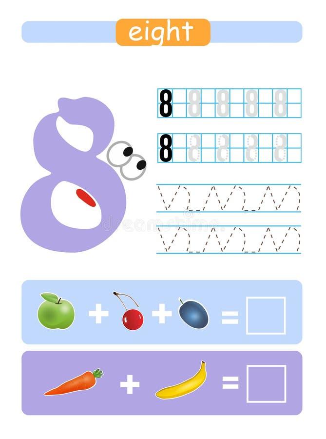 Foglio di lavoro stampabile per l'asilo e la scuola materna Apprendimento dei numeri otto illustrazione di stock