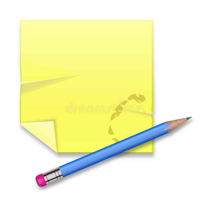 Foglio di registrazione giallo con la matita su fondo bianco illustrazione vettoriale