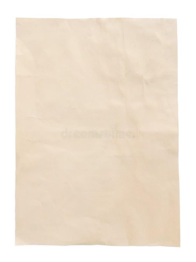 Foglio giallo di vecchia carta d'annata con il percorso, vista superiore immagini stock libere da diritti
