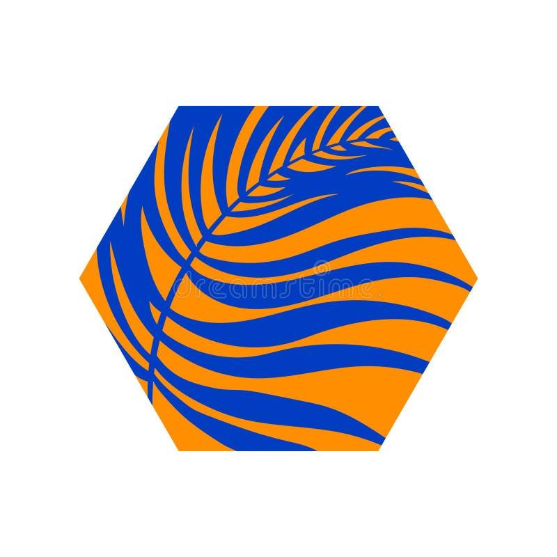 Foglio tropicale della palma Illustrazione moderna di vettore di esagono, simbolo blu ed arancio dell'elemento di progettazione d illustrazione di stock