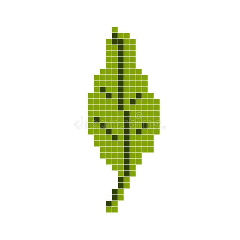 foglio verde Arte del pixel, illustrazione di vettore del fumetto Retro gioco di stile illustrazione vettoriale