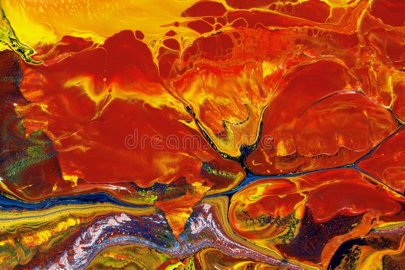 Fogo abstrato no gelo, óleo na pintura da lona foto de stock