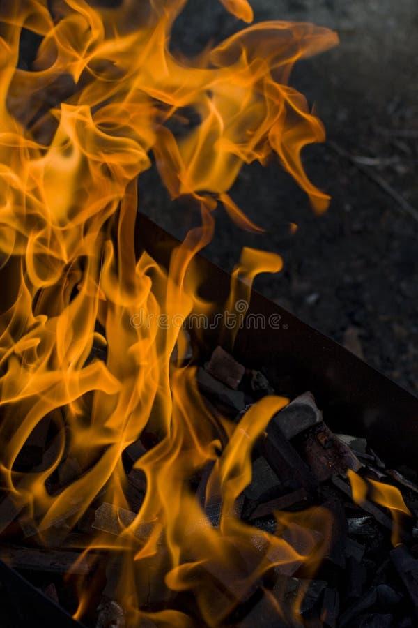 Fogo ardente do close-up na grade fotografia de stock royalty free