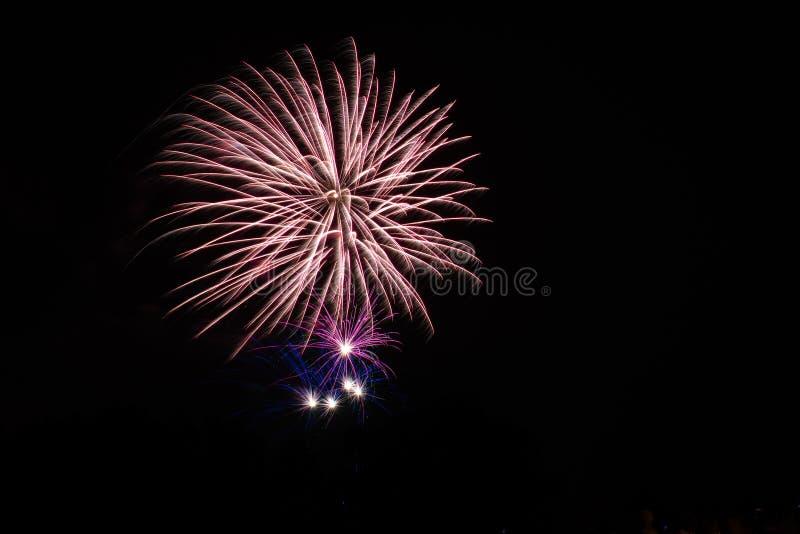 Fogo de artifício bonito no céu imagem de stock royalty free