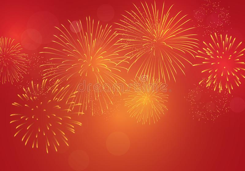 Fogo de artifício brilhantemente dourado no fundo cor-de-rosa vermelho para comemorar a véspera de ano novo, ano novo chinês do _ ilustração stock