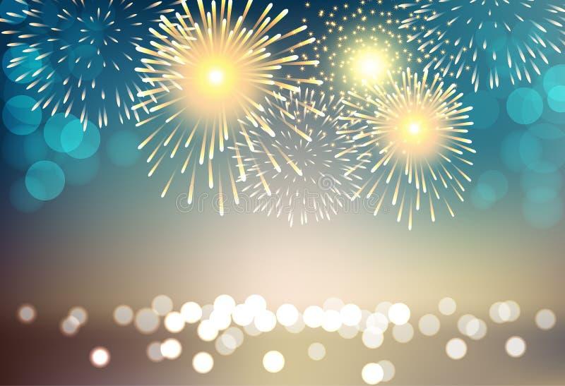 Fogo de artifício colorido no fundo da paisagem da cidade para a celebração ilustração stock