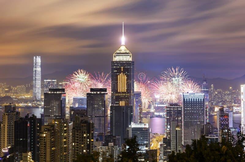 Fogo de artifício da cidade de Hong Kong foto de stock