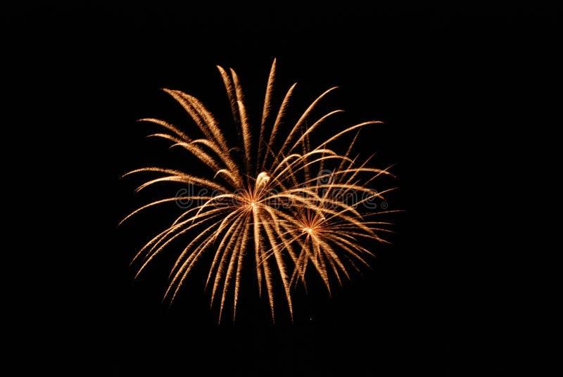 Fogo-de-artifício de explosão dourado imagem de stock royalty free