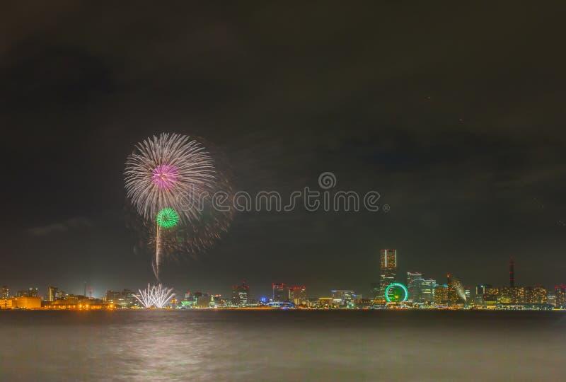 Fogo de artifício de Yokohama foto de stock