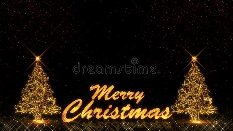 Fogo de artifício dourado do bokeh das partículas do brilho da luz do ano novo feliz 2019 do Natal ilustração do vetor