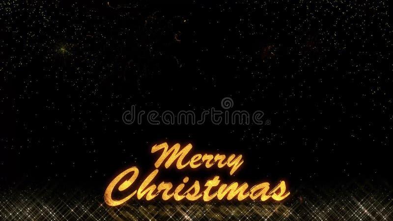 Fogo de artifício dourado do bokeh das partículas do brilho da luz do ano novo feliz 2019 do Natal ilustração royalty free