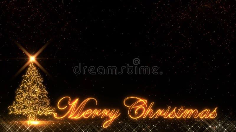 Fogo de artifício dourado do bokeh das partículas do brilho da luz do ano novo feliz 2019 do Natal ilustração stock